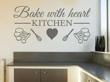 """Wall Quote """"Bake With Heart"""" Kitchen Cooking Home Sticker Decal Decor Transfer"""